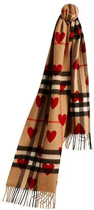 Burberry Unisex Heart Check Cashmere Scarf