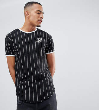 SikSilk Muscle T-Shirt In Black With Stripes Exclusive to ASOS