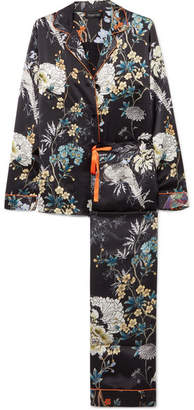 MENG - Floral-print Silk-satin Pajama Set - Black
