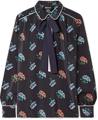 Markus Lupfer Carmen Pussy-bow Floral-print Silk Crepe De Chine Blouse - Black