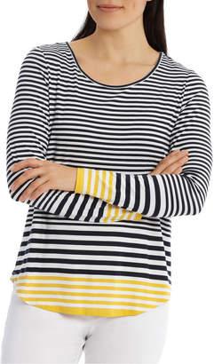 Gradient Stripe Contrast Hem Long Sleeve Tee