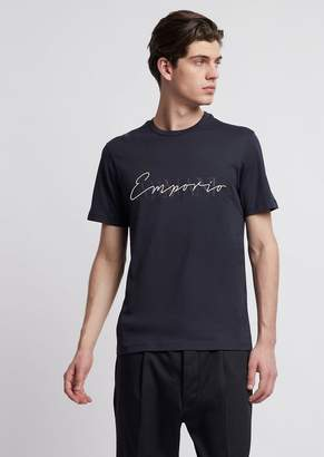 Emporio Armani Jersey T-Shirt In Mercerized Cotton With Print And Logo Embroidery