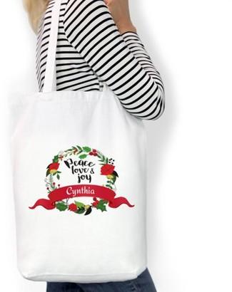 "Monogram Online Peace Love Joy Custom Cotton Tote Bag, Sizes 11"" x 14"" and 14.5"" x 18"""