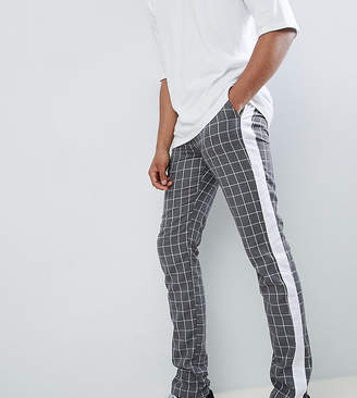 Asos DESIGN Tall Slim Pants In Gray Check With Side Stripe