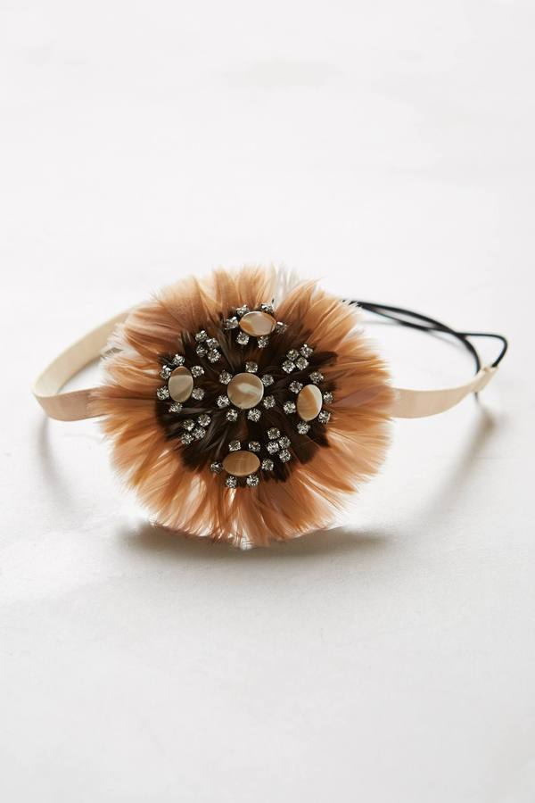 Anthropologie Feathered Cote D'Azur Headband