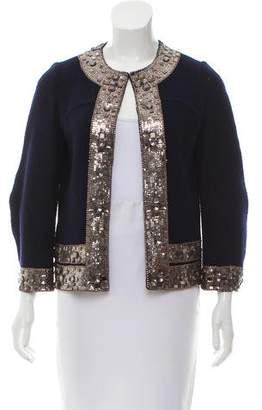 Oscar de la Renta Virgin Wool Embellished Jacket