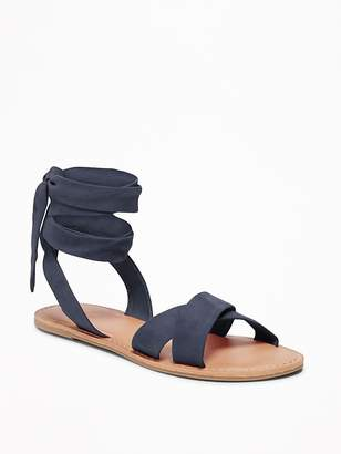 Old Navy Sueded Ankle-Tie Sandals for Women