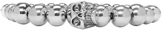 Alexander McQueen Silver Beaded Skull Bracelet $395 thestylecure.com