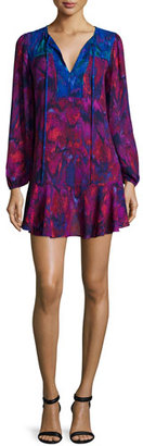 BCBGMAXAZRIA Long-Sleeve Flounce-Hem Mini Dress, Plum $248 thestylecure.com