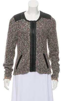 Rag & Bone Leather Trimmed Long Sleeve Sweater