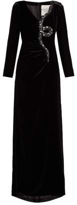 Crystal And Bead Embroidered Snake Velvet Gown - Womens - Black