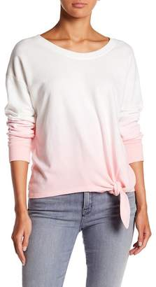Socialite Ombre Tie Front Long Sleeve Tee