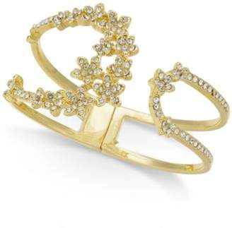 INC International Concepts I.N.C. Silver-Tone Crystal Cluster Flower Hinged Cuff Bracelet, Created for Macy's