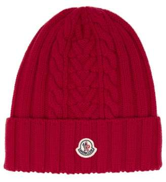 Moncler Cable Knit Wool Beanie Hat - Womens - Red