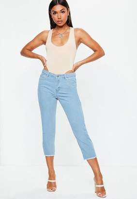 Missguided Blue Denim Mid Rise Cropped Flared Jeans