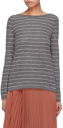 Vince Bell sleeve scoop back stripe cashmere sweater