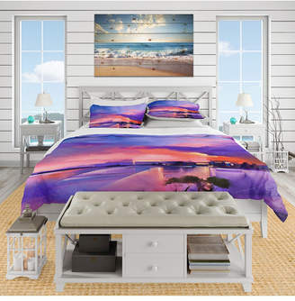 Designart 'Orange and Purple Sky In Twilight Sunset' Beach Duvet Cover Set - King Bedding