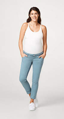 Esprit Stretch trousers with decorative stitching and an over-bump waistband