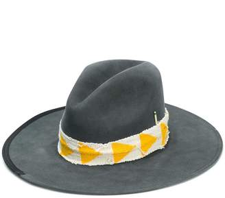 Nick Fouquet wide brim yellow and gold ribbon hat