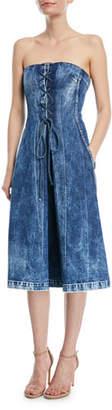 Ralph Lauren Esme Lace-Up Strapless Denim Dress