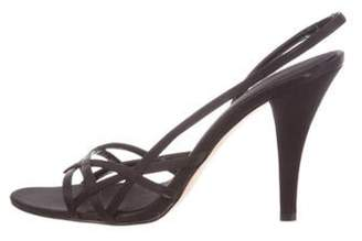 Calvin Klein Collection Satin Multi-Strap Sandals Black Satin Multi-Strap Sandals