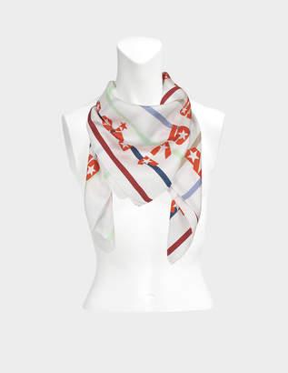 Sonia Rykiel 175X175 Stripes Square Scarf in White Multi Twill Silk