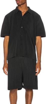 Issey Miyake Homme Plisse Button Shirt in Black | FWRD