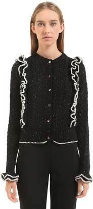 Philosophy di Lorenzo Serafini Ruffled Tweed Yarn Cable Knit Cardigan