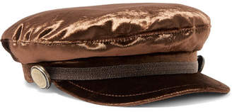 Brunello Cucinelli Beaded Cotton-blend Velvet Cap - Brown