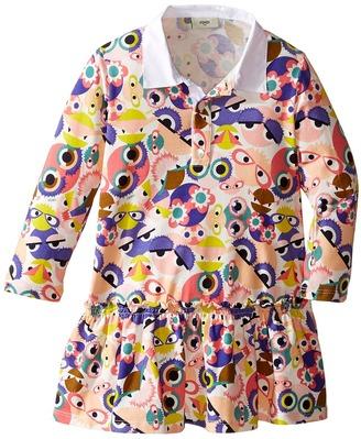 Fendi Kids - Long Sleeve Collar Dress w/ All Over Monster Print Girl's Dress $240 thestylecure.com