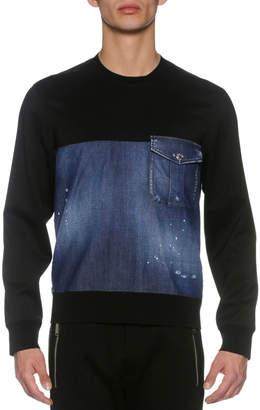 DSQUARED2 Denim & French Terry Sweatshirt, Blue