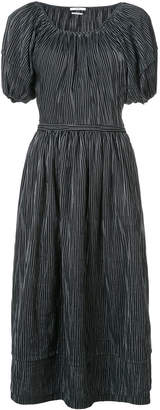 Co striped puff sleeve dress