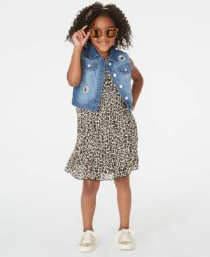 Rare Editions Toddler Girls 2-Pc. Leopard-Print Shift Dress & Denim Vest Set