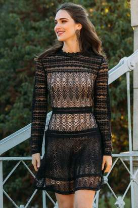 francesca's Kenna Lace A-Line Dress - Black