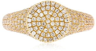 Ef Collection 14kt Gold Diamond Signet Ring