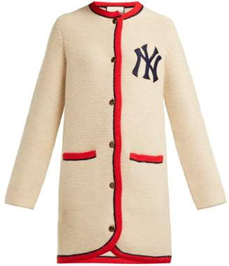 Gucci Yankees Logo Wool And Alpaca Blend Long Cardigan - Womens - Cream Multi