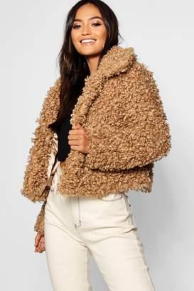 boohoo Petite Premium Teddy Faux Fur Crop Coat