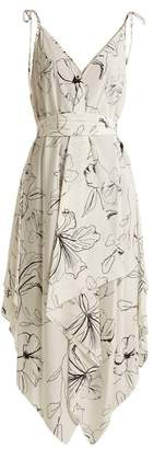 Diane von Furstenberg Floral Print Silk Dress - Womens - White Black