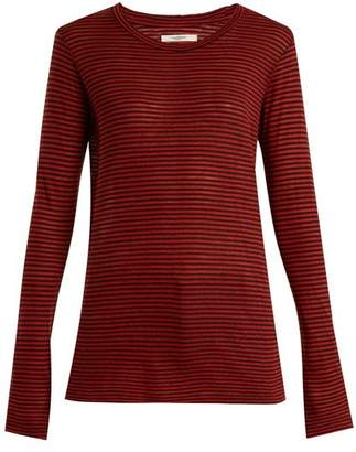 Etoile Isabel Marant Aaron Striped Linen Blend T Shirt - Womens - Red Stripe