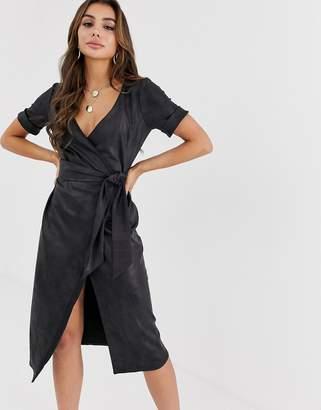 fbe633da6c Asos Design DESIGN faux leather midi wrap dress