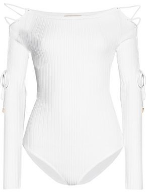 Cushnie Et Ochs Woman Cold-shoulder Crochet-knit Bodysuit White Size M Cushnie et Ochs