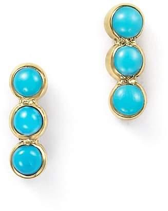 At Bloomingdale S Chicco Zoë 14k Yellow Gold Triple Bezel Turquoise Stud Earrings
