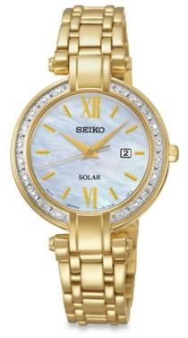 Seiko Ladies' Tressia Solar Watch in Goldtone Stainless Steel with Mother of Pearl Dial $309.99 thestylecure.com