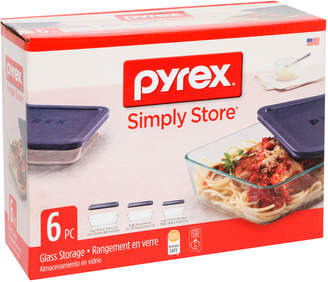 Pyrex Simply Store 6 Piece Rectangular Set with Blue Lids