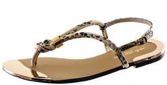 Black Snake Print T Bar Leather Sandals