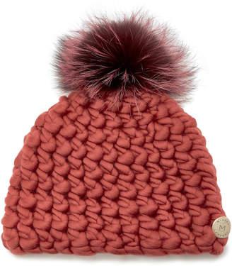 Mischa Lampert Fur-Trimmed Merino Wool Beanie Pomster