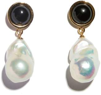 Lizzie Fortunato Tuxedo Pearl Drop Earrings