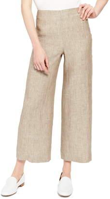 Theory Clean Crop Stripe Wide Leg Linen Pants