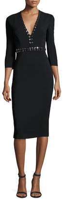 Michael Kors Grommet-Trim V-Neck Sheath Dress, Black $2,275 thestylecure.com