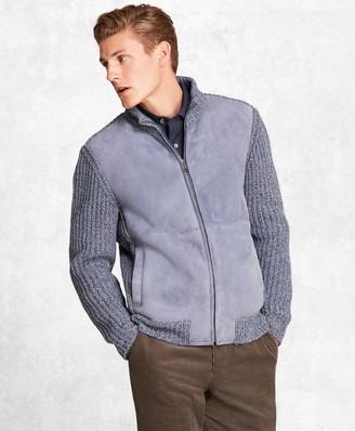 Brooks Brothers Golden Fleece Shearling Zip-Up Cardigan Jacket